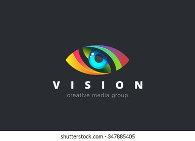 Eye Logo design vector template. Colorful media icon. Creative Vision Logotype concept. Colorful Eye Logo vision.