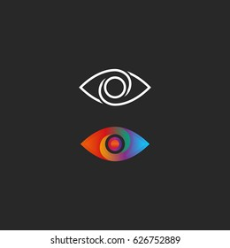 Eye logo gradient and linear style design element mockup. Transition color creative vision simple media icon.