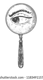 Eye looks in magnifying glass. Vintage Victorian Era Engraving style retro vector lineart Hand drawn illustration