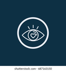 Eye with love icon