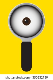 Eye in magnify cartoon on yellow background. Vector illustration design.