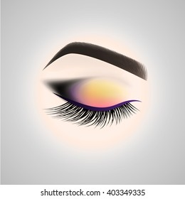 Eye makeup. Closed eye with long eyelashes. Vector illustration.