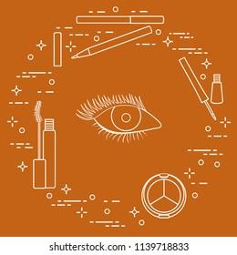 Eye makeup. Decorative cosmetics. Glamour fashion vogue style.