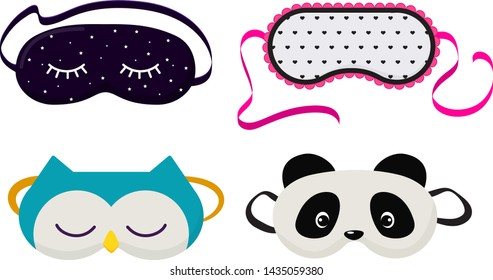 Eye mask vector sleeping night accessory relax resst in traveling illustration set of face sleepy protection cartoon asleep panda cat isolated on white background