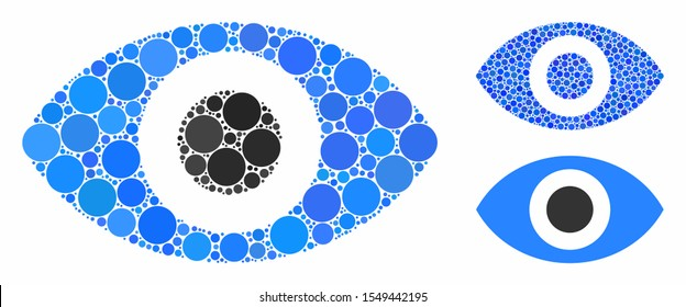 Eye mosaic of circle elements in variable sizes and color tones, based on eye icon. Vector circle elements are combined into blue illustration. Dotted eye icon in usual and blue versions.