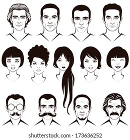 eye, mustache, lips and hair, face parts, head character, old and young people