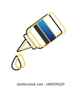 Eye, nasal medical drops sign. Blue icon with gold contour with dark gray shadow at white background. Illustration.