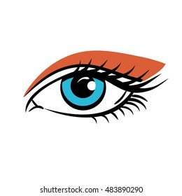 Eye on white background. Eyes art. Woman eye. The eye logo. Eyes art. Human eye, eye close up - vector.