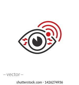 eye pain icon, sore, eye disease, line symbol on white background - editable stroke vector illustration eps10