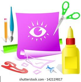 Eye. Paper template. Raster illustration.