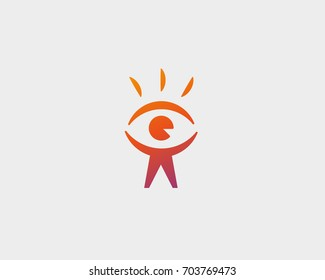 Eye people head vector logo design. Find person icon symbol. Man photo vision logotype.