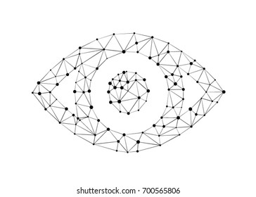 Eye with polygon line on abstract background. Polygonal space low poly with connecting dots and lines. Vector science background. Abstract polygonal light human eye sign. Business wireframe mesh.