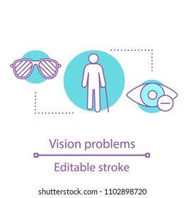 Eye problems concept icon. Ophthalmology idea thin line illustration. Blindness and hyperopia treatment. Vector isolated outline drawing. Editable stroke
