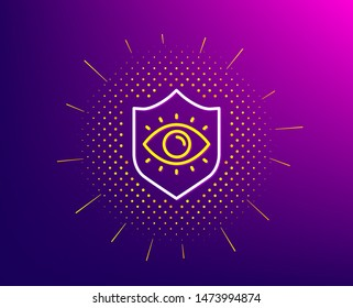 Eye protection line icon. Halftone pattern. Oculist clinic sign. Optometry vision symbol. Gradient background. Eye protection line icon. Yellow halftone pattern. Vector