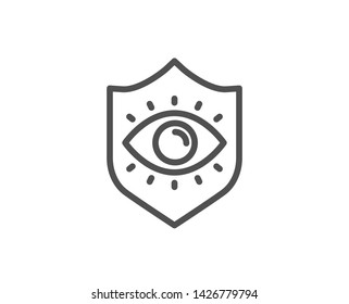 Eye protection line icon. Oculist clinic sign. Optometry vision symbol. Quality design element. Linear style eye protection icon. Editable stroke. Vector