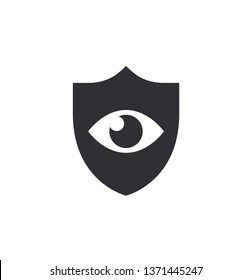 Eye protection. Shield with eyes symbol. Safety sign eye protection. Preservation vision. Doctor oculist. Vector illustration. Color easy to edit. Transparent background.