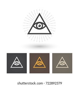 Eye of Providence, All Seeing Eye Of God, pyramid, vector illustration.