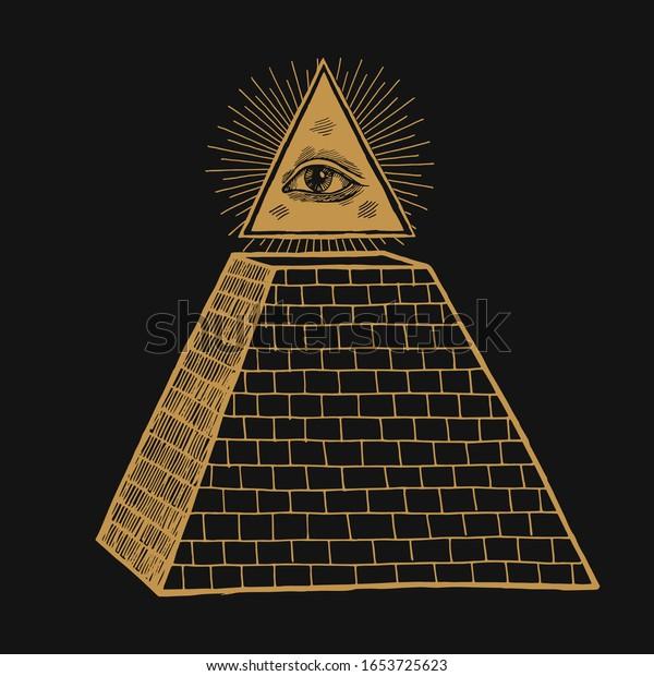 Ojo de providencia. Todos los ojos visibles en el triángulo sobre el símbolo masónico piramidal. Ilustración oculta.