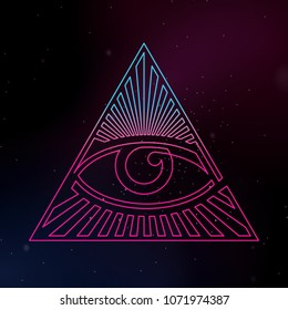 Eye of Providence Continuous Line Vector