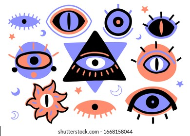 The Eye of Providence. Decorative esoteric vector design elements. The all-seeing eye occult symbol.
