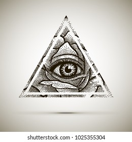 Eye of Providence. Masonic symbol. All seeing eye inside triangle pyramid with Rose flower. Dotwork. New World Order. Freemason and spiritual, illuminati, religion, occultism. Conspiracy. Vector.