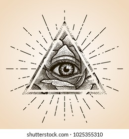 Eye of Providence. Masonic symbol. All seeing eye inside triangle pyramid with Rose flower. Dotwork. New World Order. Freemason and spiritual, illuminati, religion, occultism. Conspiracy. Vector.