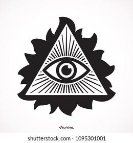 Eye Of Providence Masonic Symbol All Seeing Inside Triangle Pyramid New World