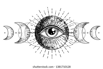 Eye of Providence. Masonic symbol. All seeing eye inside triple moon pagan Wicca moon goddess symbol. Vector illustration. Tattoo, astrology, alchemy, boho and magic symbol. Coloring book.