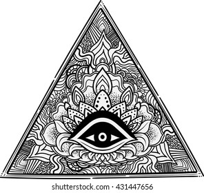 Eye of Providence. Masonic symbol. All seeing eye inside triangle pyramid. Hand-drawn alchemy, spirituality, occultism. Isolated vector. Mehendi tattoo body art pattern elements.