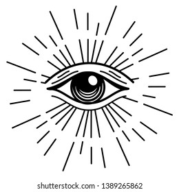 Eye of Providence in outline style on white background