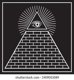 The Eye of Providence Pyramid Vector Illustration