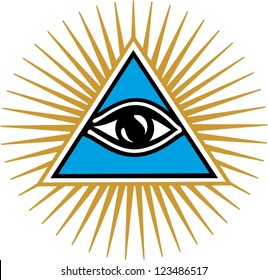 Eye of Providence - pyramid - vector image isolated on white background / All Seeing Eye Of God / Symbol Omniscience