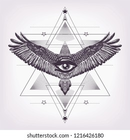 Eye of providence with sacred geometry and eagle. Six pointed star and drawing flying bird with magic look.Masonic symbol.Black and white pattern. Sketch for print t shirt and tatoo art. Alchemy.