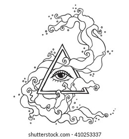 Eye of Providence sign. Masonic symbol. All seeing eye in triangle pyramid. New World Order. Hand drawn alchemy, religion, spirituality, occultism. Isolated vector illustration. Conspiracy theory.