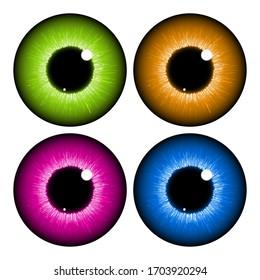 eye, pupil, iris, vector symbol icon design set. Realistic vector illustration isolated on white background