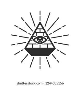 Eye in a pyramid, Illuminati symbols, masonic sign, all seeing eye