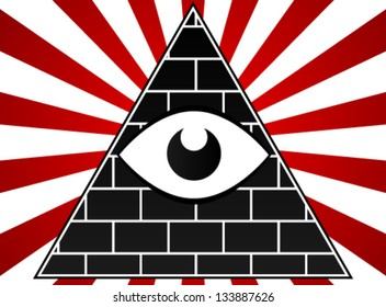 Eye With Pyramid Vivid Background