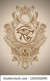 Eye of the Ra as an Egyptian symbol in ethnic patterns