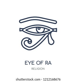 Eye of ra icon. Eye of ra linear symbol design from Religion collection. Simple outline element vector illustration on white background.