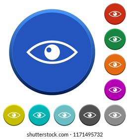 Eye round color beveled buttons with smooth surfaces and flat white icons