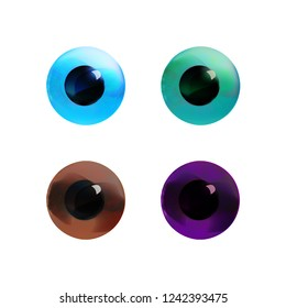 Eye' s  irises collection with shiny blue, green, brown, hazel tints, realistic icon set, ophthalmology objects. Sight symbols. Vector illustration.