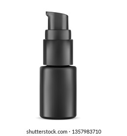 Eye Serum Cosmetic Bottle. Highlight Pump Dispenser Vial for Face Care Treatment. Black Container Mockup for Essential Liquid, Concealer, or Tonal Base. Realistic Packaging Sample.