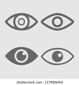 Eye set vector icon. Eyes simple isolated pictogram. Vision symbol.