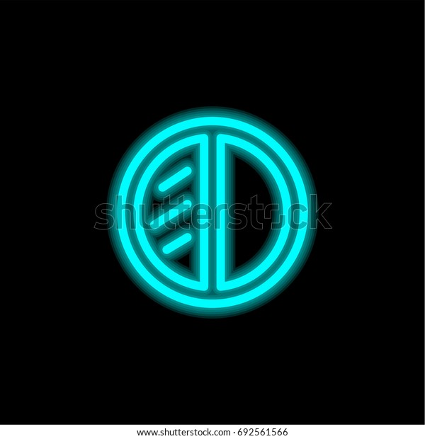 Eye shadow blue glowing neon ui ux icon. Glowing sign logo vector
