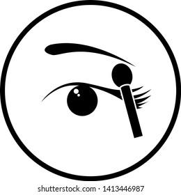 eye shadow makeup applicator and eye symbol