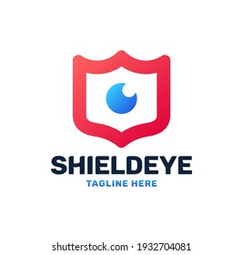 Eye and shield monitoring logo icon. Security, protection, guard, vision, defense, video monitoring symbol. Vector
