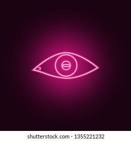 eye with short-sightedness problems icon. Elements of Medicine in neon style icons. Simple icon for websites, web design, mobile app, info graphics