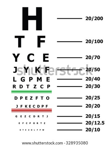 Eye Sight Test Chart Snellen Chart Stock Vektorgrafik Lizenzfrei