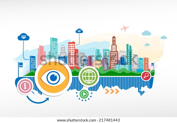 Eye sign and cityscape background with different icon and elements. Design for the print, advertising.