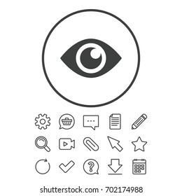 Eye sign icon. Publish content button. Visibility. Document, Chat and Paper clip line signs. Question, Pencil and Calendar line icons. Star, Download and Shopping cart. Vector